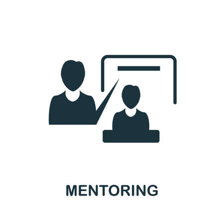 Mentoring icon. Simple illustration from team building collection. Monochrome Mentoring icon for web design, templates and infographics.