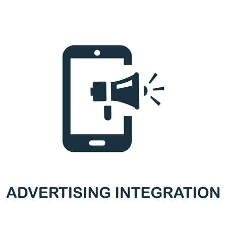 Advertising Integration icon. Simple illustration from social media collection. Monochrome Advertising Integration icon for web design, templates and infographics.