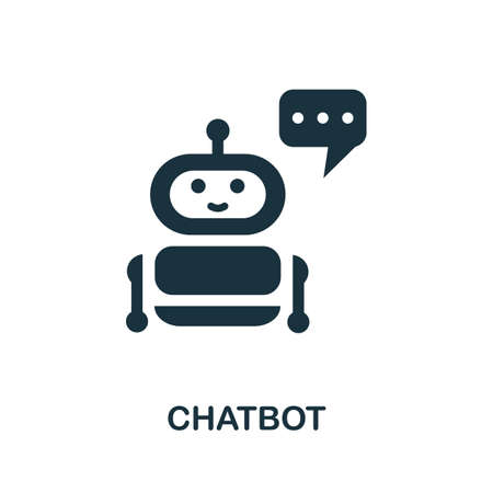 Chatbot icon. Simple illustration from social media collection. Monochrome Chatbot icon for web design, templates and infographics.