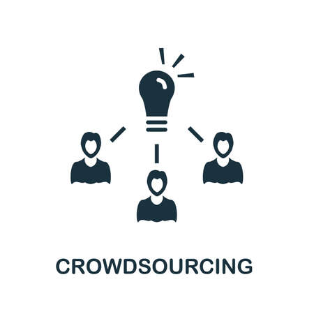 Crowdsourcing icon. Simple illustration from social media collection. Monochrome Crowdsourcing icon for web design, templates and infographics.
