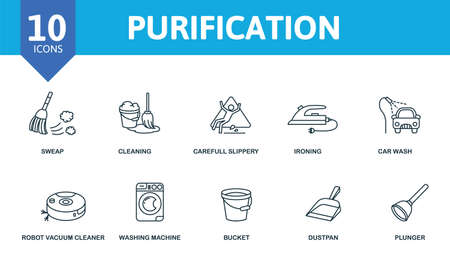 Purification icon set. Collection contain sweep, cleaning, gloves, vacuum and over icons. Purification elements set.