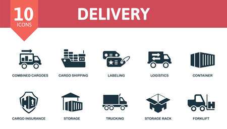 Delivery icon set. Collection contain cargo shipping, labeling, logistics, combined cargoes and over icons. Delivery elements set. Ilustracja