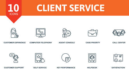 Client Service icon set. Collection contain agent console, call center, case priority, computer-telephony integration and over icons. Client Service elements set.
