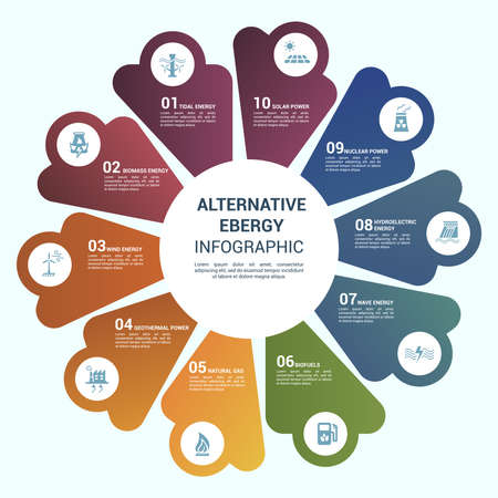 Vector Alternative Energy infographic template. Include Wind Energy, Geothermal Power, Natural Gas, Biofuels and others. Icons in different colors. Vecteurs