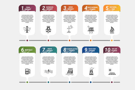 Vector Alternative Energy infographic template. Include Wind Energy, Geothermal Power, Natural Gas, Biofuels and others.  Icons in different colors. Illustration