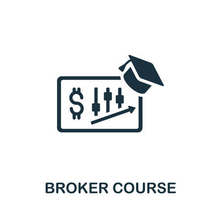 Broker Course icon. Simple illustration from online course collection. Monochrome Broker Course icon for web design, templates and infographics.