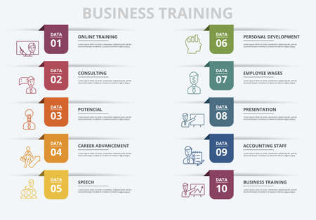 Vector Business Training infographic template. Include Potencial, Career Advancement, Speech, Personal Development and others. Icons in different colors.