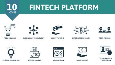 Fintech Platform icon set. Collection contain direct payment, robo advisor, blockchain technology, peer-to-peer and over icons. Fintech Platform elements set