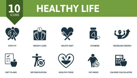 Healthy Lifes icon set. Collection contain vitamins, weight loss, increase energy, healthy diet and over icons. Healthy Lifes elements set.