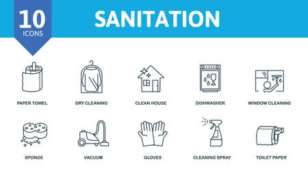 Sanitation icon set. Collection contain window cleaning, dishwasher, robot vacuum cleaner, clean house, dry cleaning and over icons. Sanitation elements set.