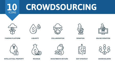 Crowdsourcing icon set. Collection contain backer, funding platform, liquidity, collaboration, donation and over icons. Crowdsourcing elements set.