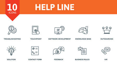 Help Line icon set. Collection contain key performance, knowledge base, outsourcing, software development kit, touchpoint and over icons. Help Line elements set. Ilustrace