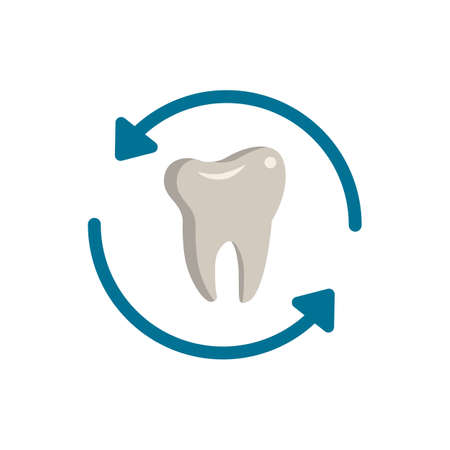 Tooth Renewal icon. Simple illustration from dentistry collection. Monochrome Tooth Renewal icon for web design, templates and infographics. Vector Illustratie
