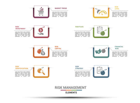 Vector Risk Management infographic template. Include Capital, Identification, Risk Level, Plan and others. Icons in different colors.
