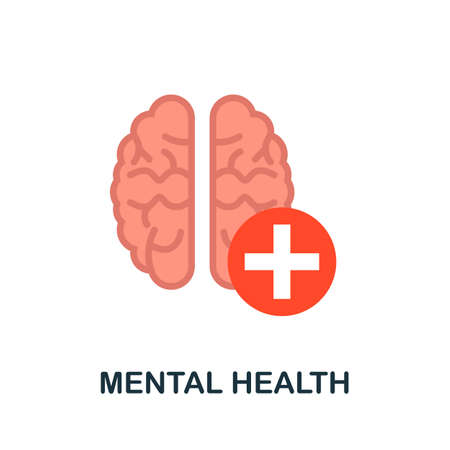 Mental Health icon. Simple illustration from health diseases collection. Monochrome Mental Health icon for web design, templates and infographics.
