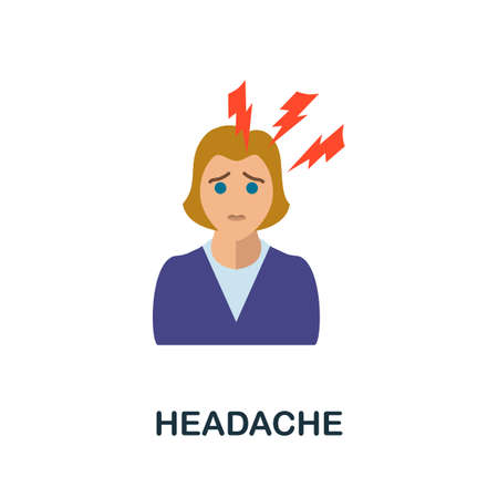 Headache icon. Simple illustration from health diseases collection. Monochrome Headache icon for web design, templates and infographics.