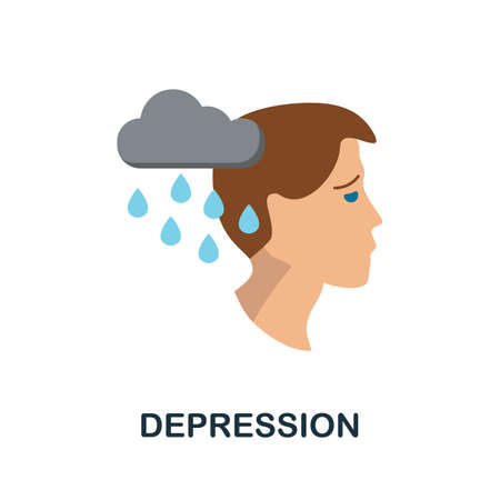 Depression icon. Simple illustration from personality collection. Monochrome Depression icon for web design, templates and infographics. Ilustrace