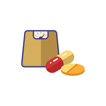Diet Pill icon. Simple illustration from pharmacy collection. Monochrome Diet Pill icon for web design, templates and infographics.  イラスト・ベクター素材