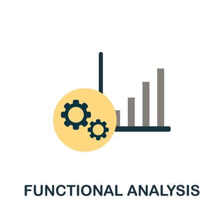 Functional Analysis flat icon. Simple illustration from project management collection. Monochrome Functional Analysis icon for web design, templates and infographics. 矢量图像
