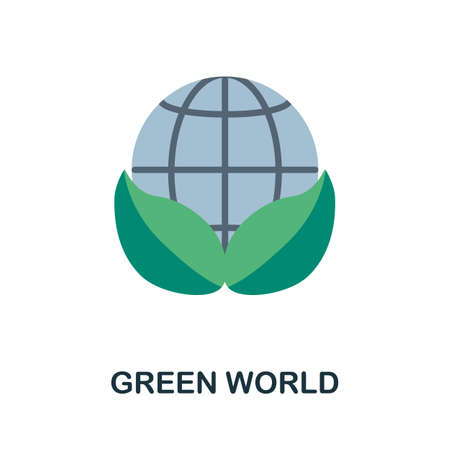 Green World flat icon. Simple illustration from save the world collection. Monochrome Green World icon for web design, templates and infographics.