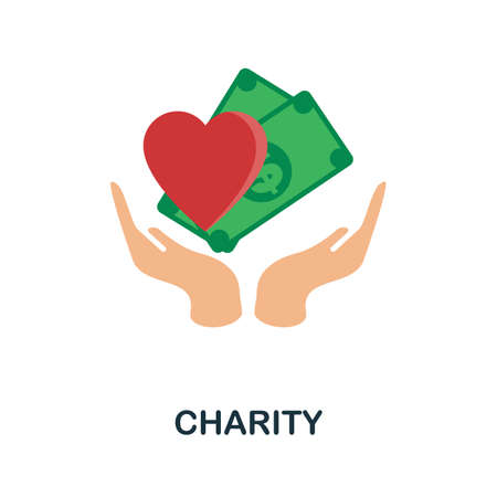 Charity flat icon. Colored filled vector element from volunteering collection. Creative Charity icon for web design project, templates and infographics.