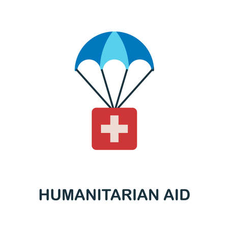 Humanitarian Aid flat icon. Colored filled vector element from volunteering collection. Creative Humanitarian Aid icon for web design project, templates and infographics.