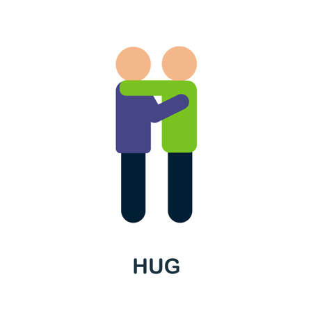 Hug flat icon. Colored filled vector element from volunteering collection. Creative Hug icon for web design project, templates and infographics.  イラスト・ベクター素材