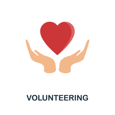 Volunteering flat icon. Filled color element volunteering symbol for templates, web design and infographics.