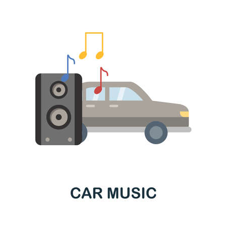 Car Music flat icon. Colored filled vector element from car servise collection. Creative Car Music icon for web design project, templates and infographics.
