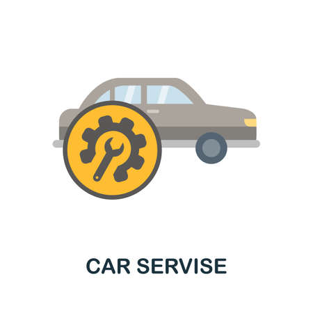 Car Servise flat icon. Filled color element car servise symbol for templates, web design and infographics.