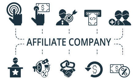 Affiliate Company icon set. Collection contain affiliate, link, attribution, authority site, advertiser, viral, marketing, affiliate marketing and over icons. Affiliate Company elements set Illusztráció