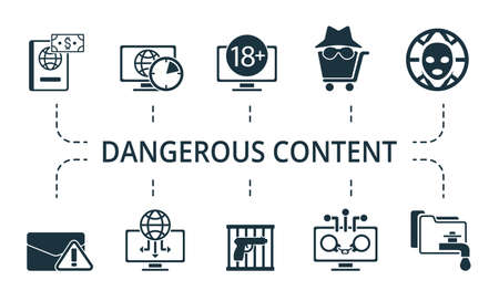 Dangerous Content icon set. Collection contain cyber, hitman, illegal, weapon, brute, force, attack, crime, adult, content, daily, internet, fraud and over icons. Dangerous Content elements set.