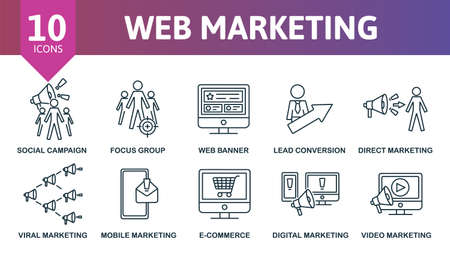 Web Marketing icon set. Collection contain target, direct marketing, focus group, web banner, social campaing and over icons. Web Marketing elements set.