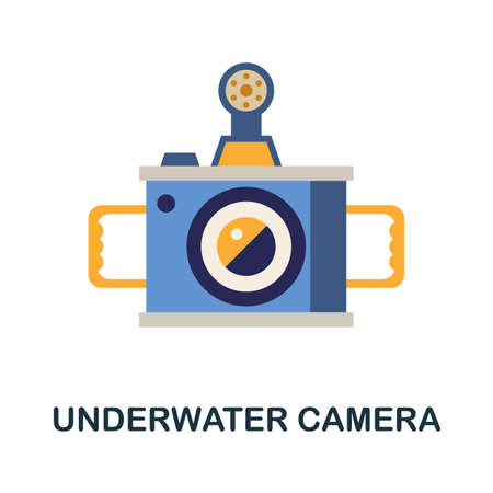Underwater Camera flat icon. Color simple element from diving collection. Creative Underwater Camera icon for web design, templates, infographics and more