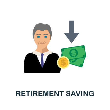 Retirement Saving flat icon. Color simple element from fintech collection. Creative Retirement Saving icon for web design, templates, infographics and more