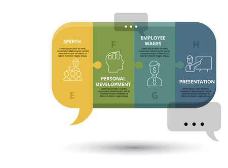 Infographic Business Training template. Icons in different colors. Include Online Training, Consulting, Potencial, Career Advancement and others.