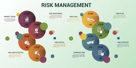 Infographic Risk Management template. Icons in different colors. Include Market Trend, Risk Investment, Capital, Identification and others.