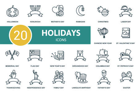 Hollidays icon set. Contains editable icons hollidays theme such as groundhog day, lincolns birthday, st. patricks day and more. Vecteurs
