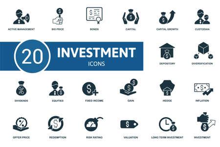 Investment icon set. Contains editable icons investment theme such as bid price, capital, custodian and more. Vektoros illusztráció