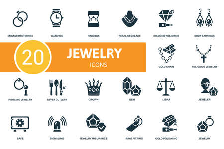 Jewelery icon set. Contains editable icons jewelery theme such as watches, pearl necklace, drop earrings and more.