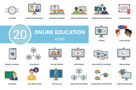 Online Education icon set. Contains editable icons online education theme such as audio conferencing, video conferencing, certification and more. 向量圖像