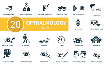 Ophthalmology icon set. Contains editable icons ophthalmology theme such as ophthalmologist, medical glasses, trial frame and more.
