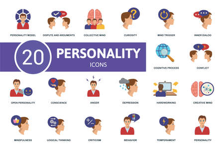 Personality icon set. Contains editable icons personality theme such as dispute and arguments, curiosity, inner dialog and more.