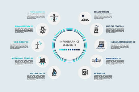 Infographic Alternative Energy template. Icons in different colors. Include Tidal Energy, Biomass Energy, Wind Energy, Geothermal Power and others. Vecteurs