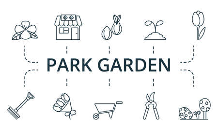 Pack Garden icon set. Collection contain pack of pixel perfect creative icons. Pack Garden elements set.