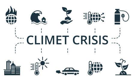 Climet Crisis icon set. Collection contain pack of pixel perfect creative icons. Climet Crisis elements set Vecteurs