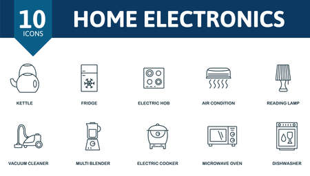 Home Electronics icon set. Contains editable icons household theme such as kettle, electric hob, reading lamp and more.