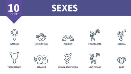 Sexes icon set. Contains editable icons theme such as intersex, rainbow, asexual and more.