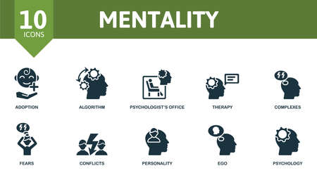 Mentality icon set. Contains editable icons psychology theme such as adoption, psychologists office, complexes and more.