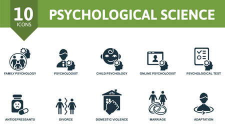 Psychological Science icon set. Contains editable icons psychology theme such as family psychololy, child psychology, psychological test and more. Vektorové ilustrace